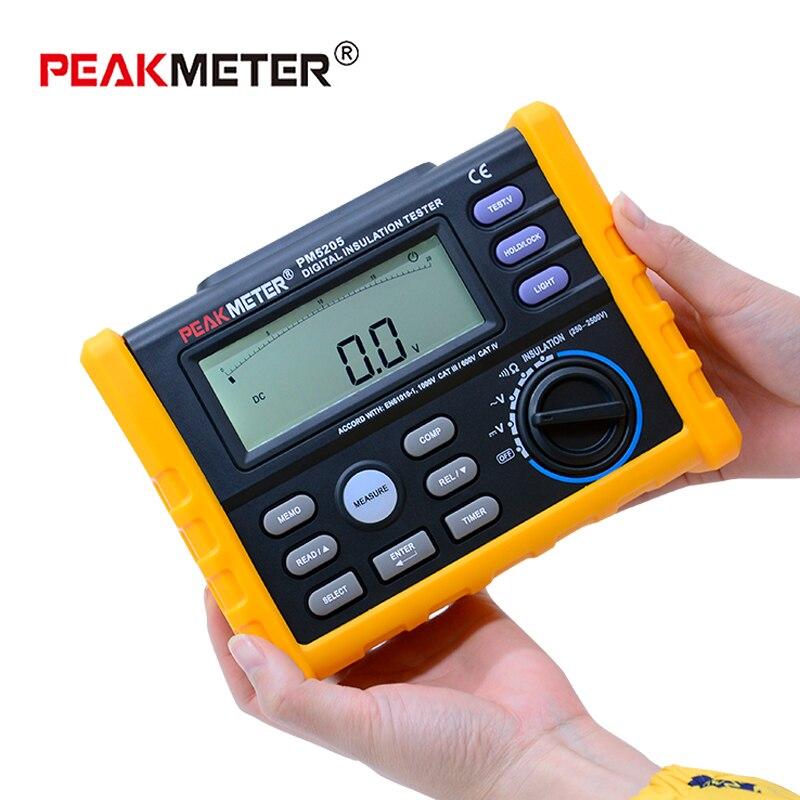 PEAKMETER MS5205 Digital Insulation Resistance Meter 0.01-100G ohm 250V-2500VTester Analogue Megohm Meter