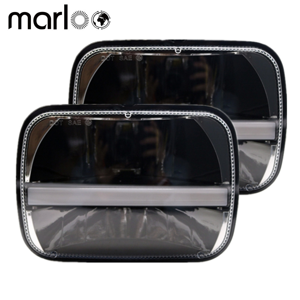 Marloo Wrangler JK YJ MJ XJ Cherokee 5x7 7x6 Inch LED Headlights Sealed Beam Rectangular with DRL Amber Turn Signal Lights 105w 5x7 7x6 inch rectangular sealed