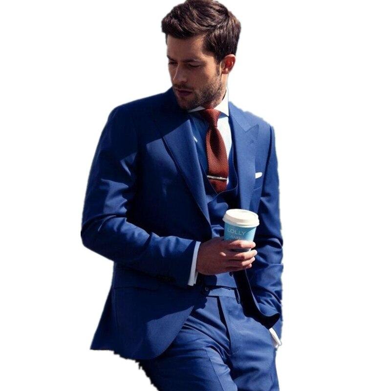 New Design Blue Groom Tuxedos Bridegroom Wedding Suit For Men Designers Prom Suit Boyfriend Blazer (Jacket+Pants+tie+Vest)