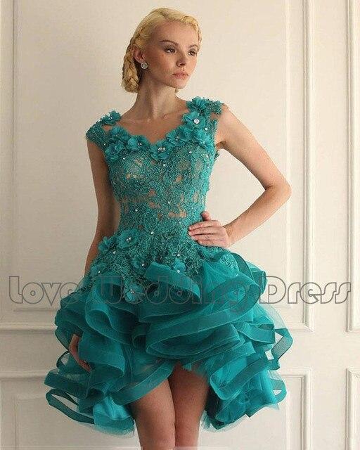 Encaje de Organza de Cristal Mini Vestidos de Coctel Con Gradas de Las Colmenas Cortos Vestidos de Baile Sin Respaldo Vestidos de Noche Del Partido