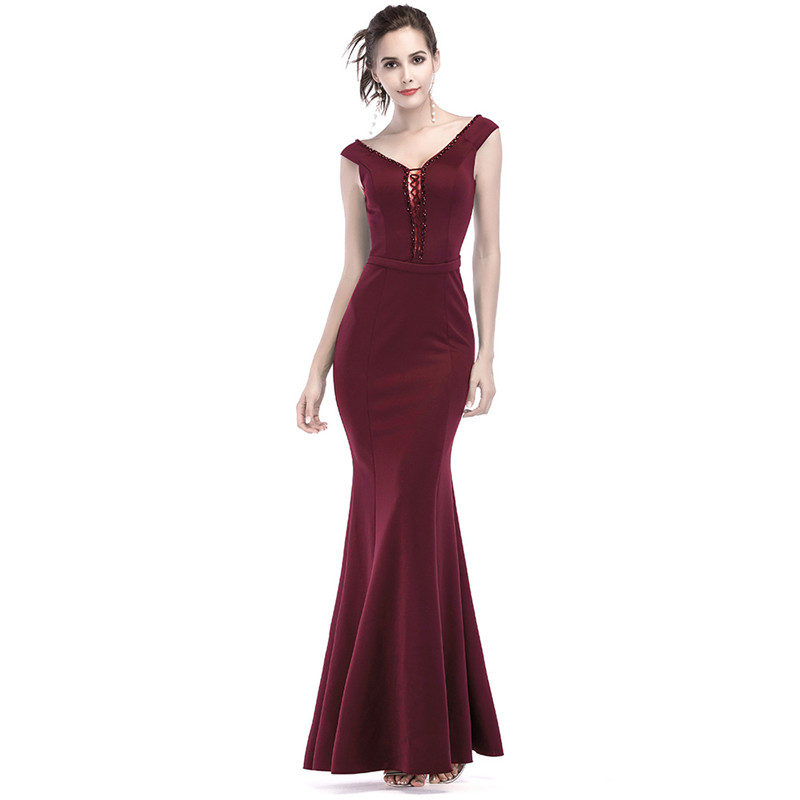 Corzzet élégant vent rouge profond col en V dos nu robe Sexy femmes soirée Club robes sirène minceur Sexy robe Clubwear