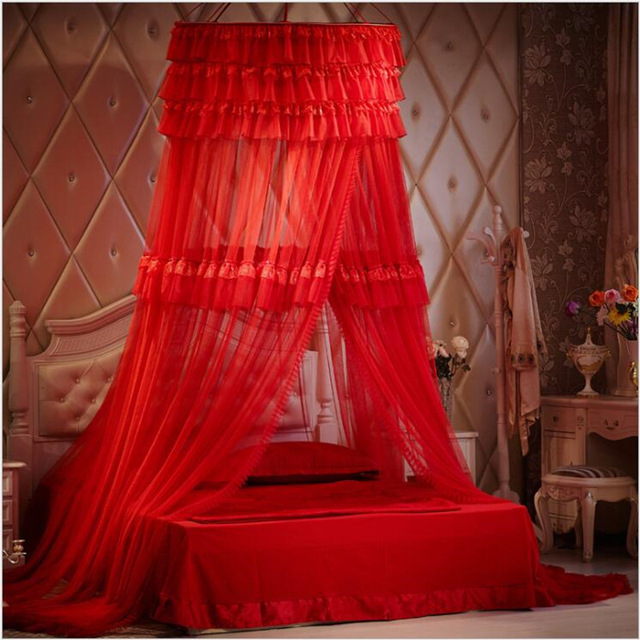 Wedding Room Decor Hang Dome Mosquito Netscircular Lace Insect Bed