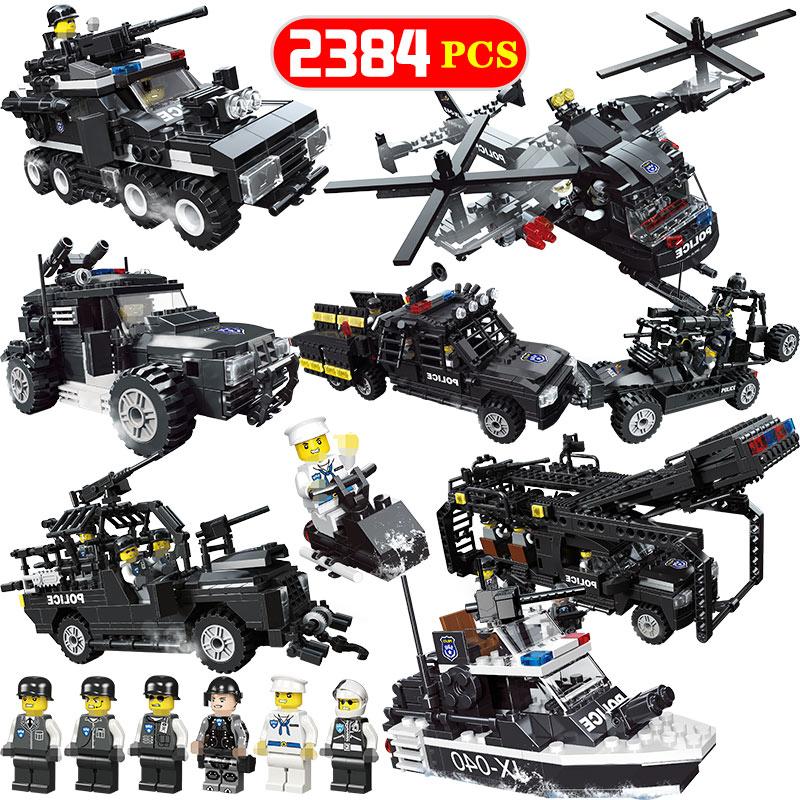 8 en 1 SWAT tigres volants blocs de construction de la ville de manière létante véhicule de police hélicoptère bateau briques jouets éducatifs pour les enfants