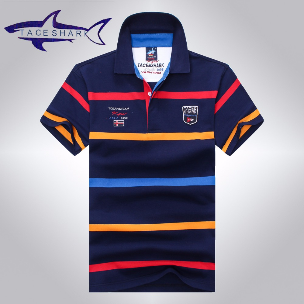 Tace & Shark   polo   shirt men brand clothing mens stripe cotton slim fit   polo   homme Summer fashion style shark logo male tops tees