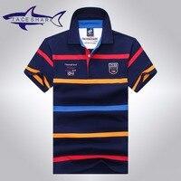 Tace & Shark polo shirt men brand clothing mens stripe cotton slim fit polo homme Summer fashion style shark logo male tops tees