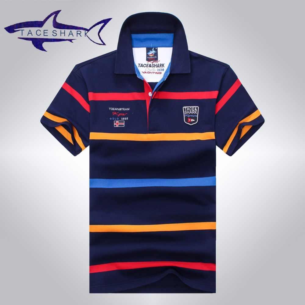 28d6ada18055 Tace & Shark polo shirt men brand clothing mens stripe cotton slim fit polo  homme Summer