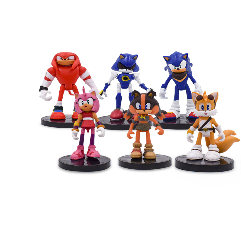 6Pcs/Set 9cm Sonic Boom Rare Dr Eggman Shadow Action Figures Toy Pvc Toy Sonic Shadow Tails Characters Figure Toys For Children