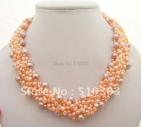 Beautiful 5Strds Pearl Crystal Necklace