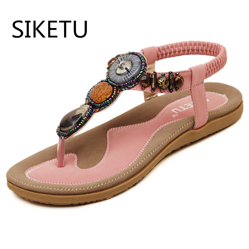 SIKETU Size 4~14 Big Size Black Beading Sandals Women Shoes Khaki Rome Summer Women Flats Shoes sandalias mujer Plus Size 35-45 size 4 11 big size sandals women shoes black beading 2016 summer women flats shoes sandalias mujer check foot length
