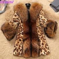 Модные женские куртки из искусственного меха на осень и зиму, леопардовые норковые шубы, воротник из искусственного меха енота, большие раз...