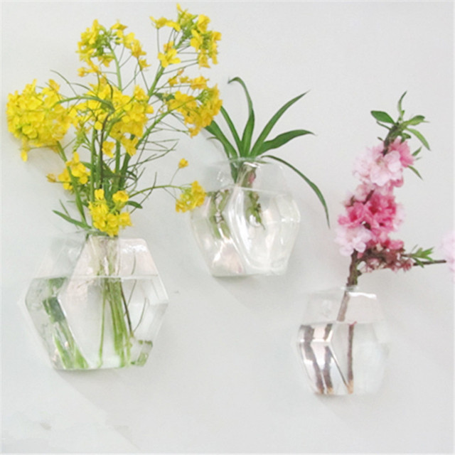Hot Sale Hexagon Shape Wall Hanging Glass Flower Plant Vase