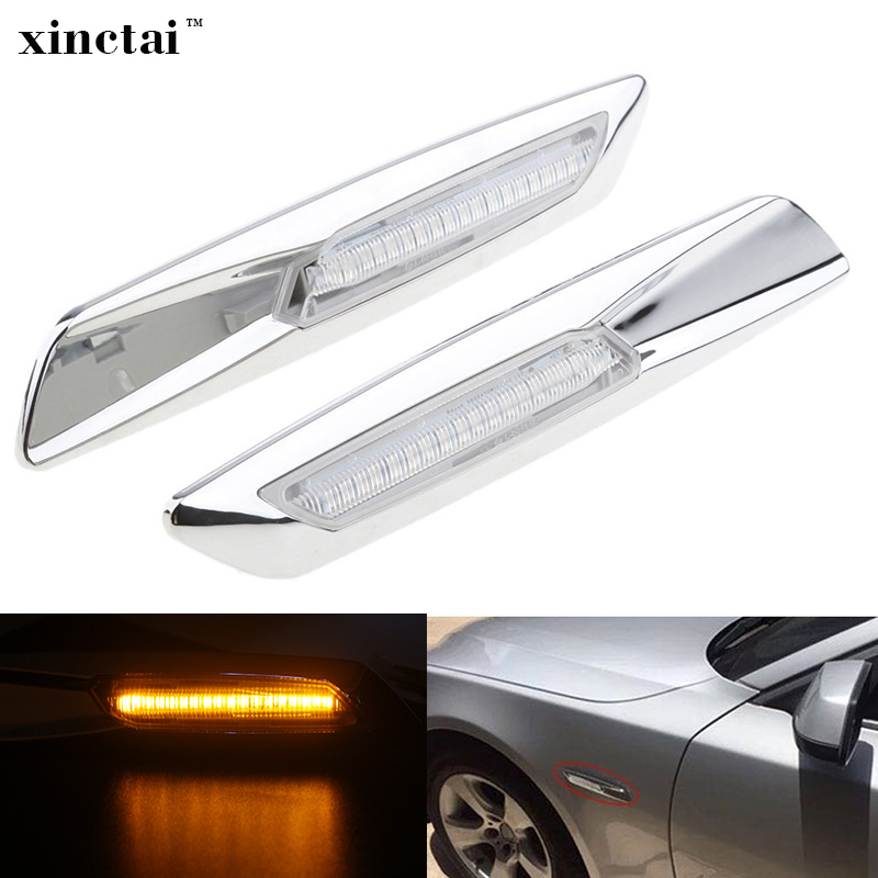 2PCS Canbus 12v Silver LED Fender Side Marker Light Turn Signals for BMW E60 E61 E90 E91 E92 E93 E81 E82 E87 E88 1/3/5 series цена