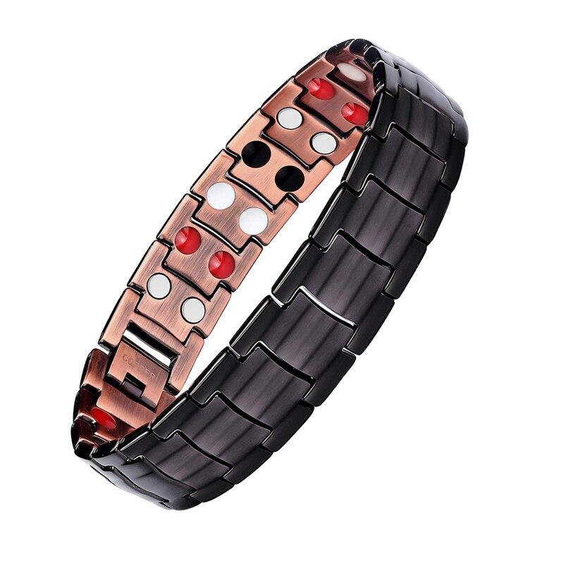 Copper Magnetic Bracelets Men Arthritis Pain Relief With DoubleRow Strong Magnets Bangles Hologram Bracelets