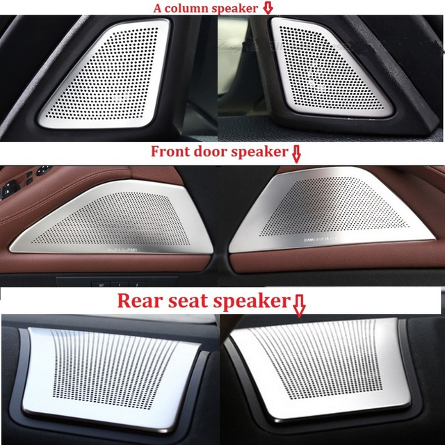Interior Mouldings Stainless Steel Car Speaker Cover Frame Trim 6pcs for BMW 5 Series F10 F18 2011-2016