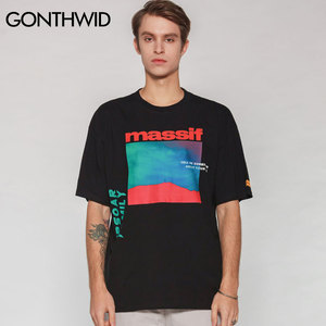 Image 4 - GONTHWID クリエイティブ Massif プリント半袖ストリート男性ヒップホップ原宿カジュアル綿 Tシャツ男性ファッションストリートトップ Tシャツ