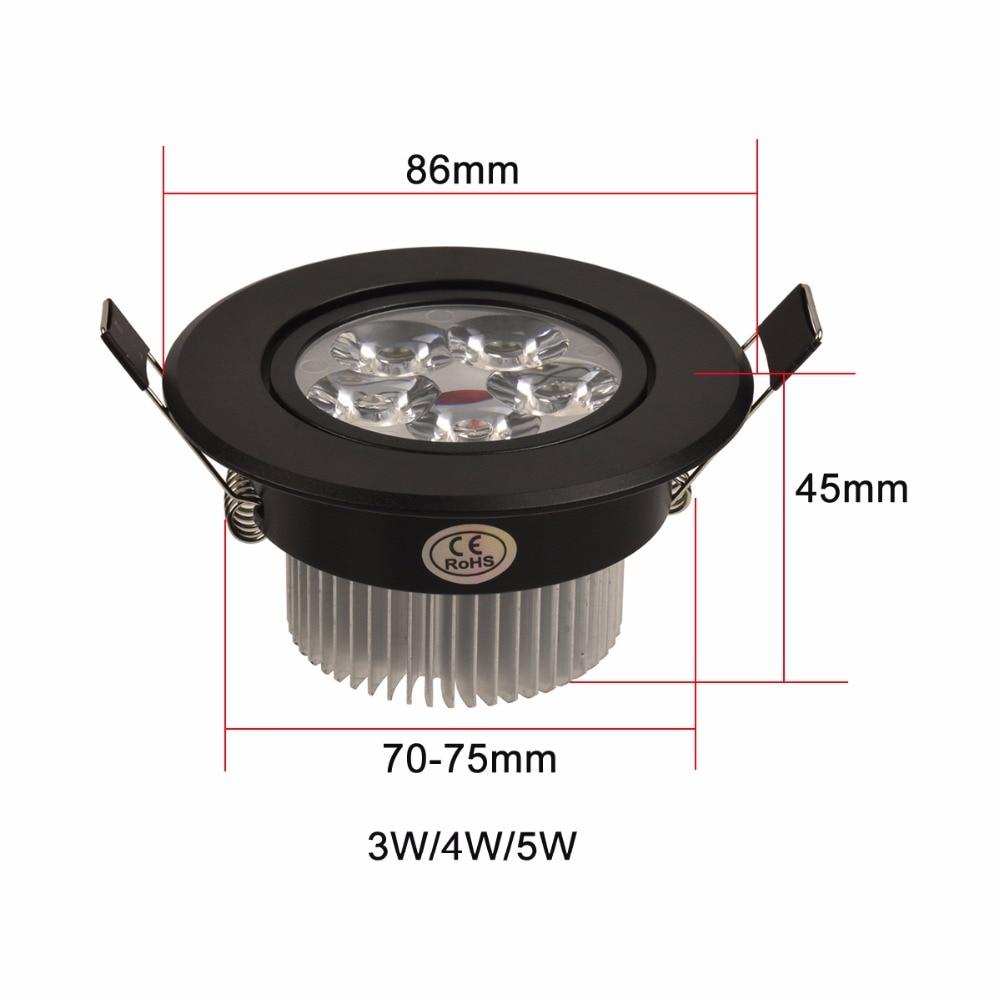 3W 4W 5W Led Downlight Dimmable 110V 220V Սև Shell կլոր - Ներքին լուսավորություն - Լուսանկար 4