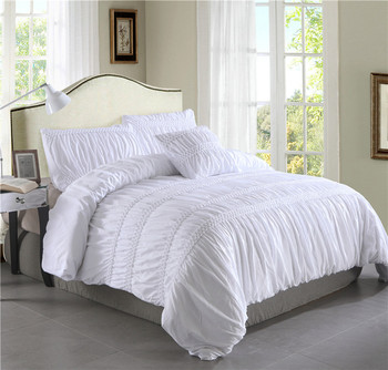 White Grey Princess Ruched Luxury Duvet Cover Set Pinch Pleat 3/4pcs Queen Size Bedclothes Bedding Sets (No filling No sheet)