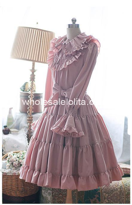 Pure Pink Tea length Long Sleeves Lolita Dress Lolita Channel A line 4XL For Sale Tea Party Dresses