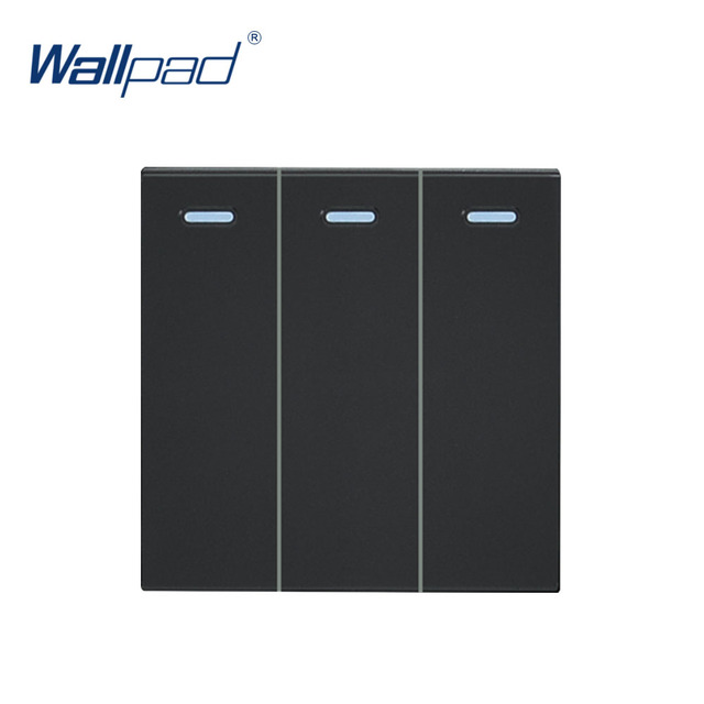 Wallpad Luxury 3 Gang Reset Switch Momentary Contact Function Key For Wall White And Black Plastic Module Only