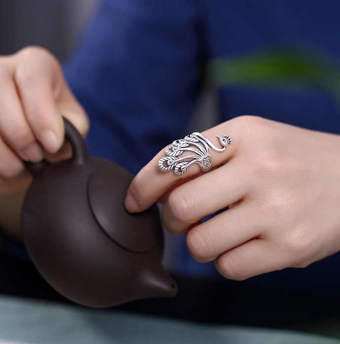 בוהמי בציר 925 סטרלינג כסף טווס לנשים מתנות פאנק אישיות מתכוונן גודל אצבע טבעות Anillos Anelli