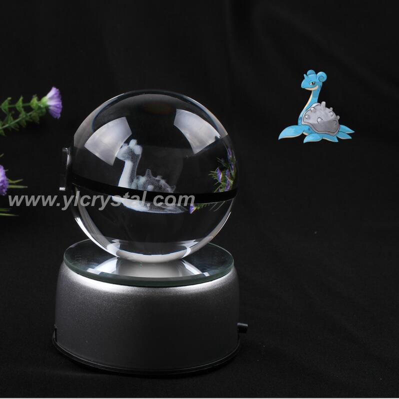 Pokemon Ball With Engraving Crystal Ball New Style Good Quality With Led base With Gift Box