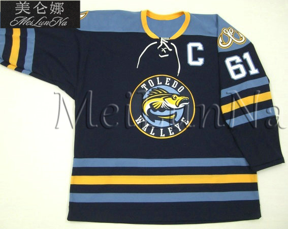 Customize ECHL Toledo Walleye 61 Woods Jersey Alternate Navy1