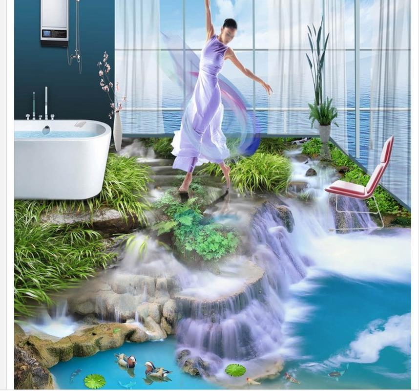 ФОТО  3d wallpaper Waterfall 3D flooring bathroom waterproof wallpaper floor 3d wallpaper
