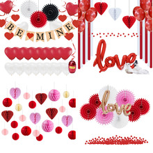 Wedding Room Paper Decoration Set Love Foil Balloons I You Banner Heart Honeycomb Balls Happy Valentines Day