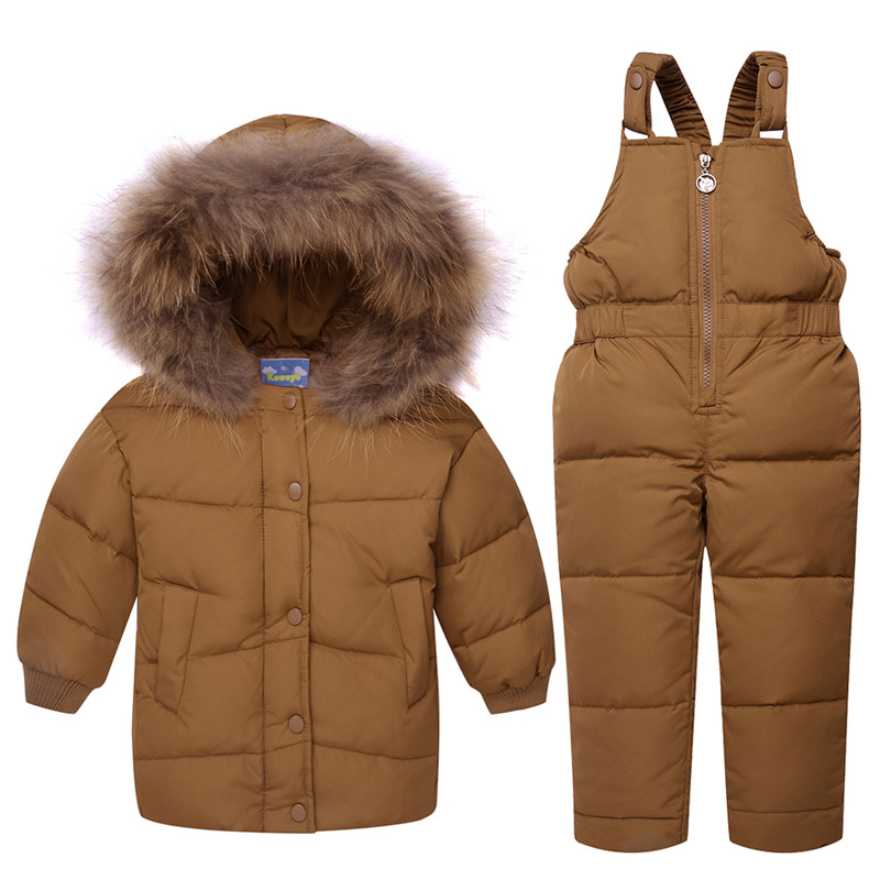 2017 Winter Baby Boys White Duck Down Snowsuit Baby Clothes Jacket Suit Children Caramel Two Piece Set Big Fur Collar 2016 winter boys ski suit set children s snowsuit for baby girl snow overalls ntural fur down jackets trousers clothing sets