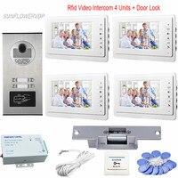 Видеодомофон RFID Доступа Управление 4 кнопки home телефон видеовызова 7 Цвет белый мониторы видео дверной звонок + Электрический замок