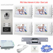 Video Intercom Rfid Access Control 4 Buttons Home phone Video Call 7″ Color White Monitors Video Doorbell + Electric Door Lock