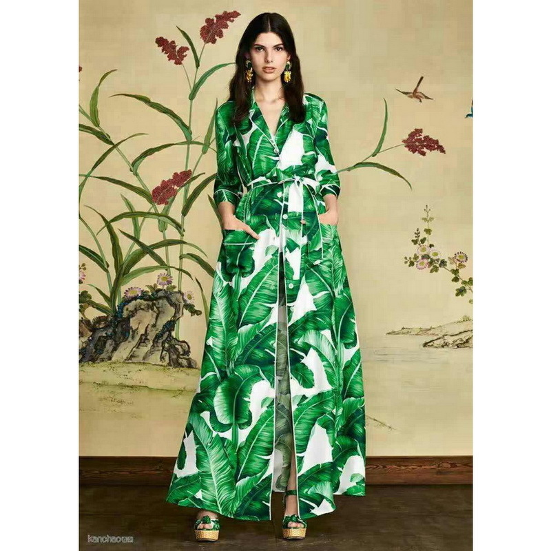 2018 New Fashion Spring Autumn Women's 3/4 Sleeve X-long Dress Green Leaves Print Lace-up Long Trench Coat Outwear