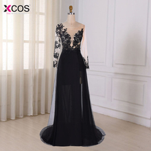 Robe de Soiree Real Photo Black Long Sleeve Evening Dresses 2017 High Split See through Long Prom Party Gowns robe de soiree