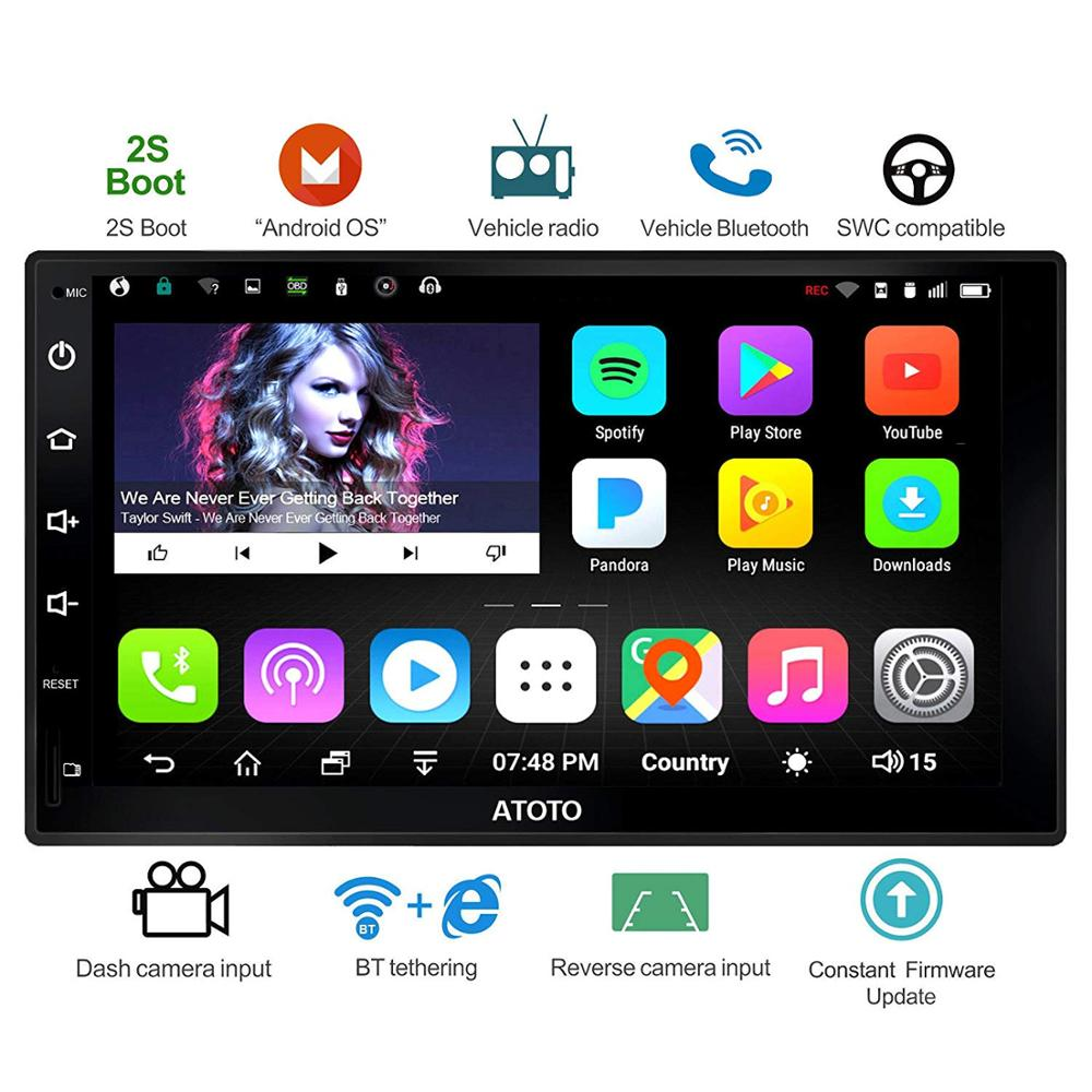ATOTO A6 Double Din Android Car GPS Navigation Stereo Player/2 X Bluetooth/A6Y2710S 1G/16G Multimedia Radio