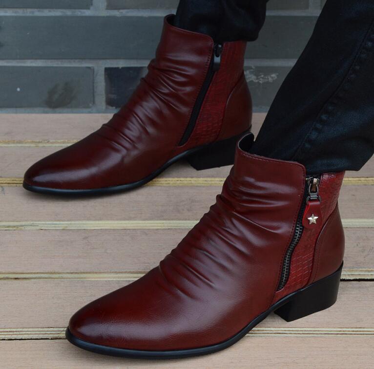 Fashion Luxury Brand Mens Leather Boots Genuine Zipper Black