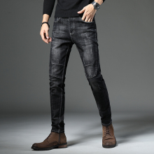 цены на 2018 Classic Black Jeans Men Slim Fashion Denim Pants Man Spliced Skinny Jeans Man Scratched Quality Personal Fit Trousers  в интернет-магазинах
