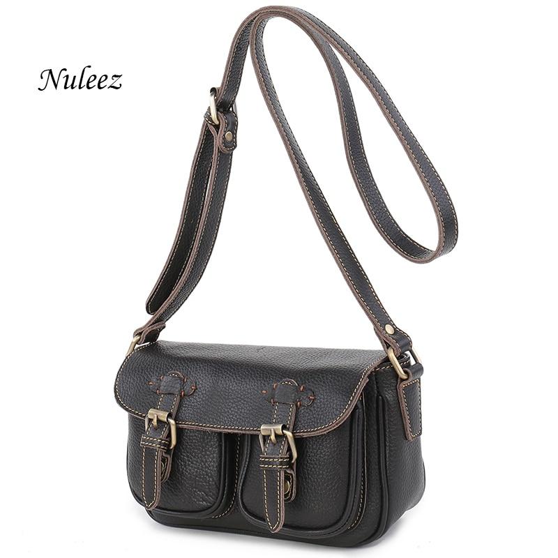 e0867c051ab6 Nuleez Vintage Genuine Leather Women Bag Real Leather Bag Cross Body  Messenger Ladies Shoulder Handbag High