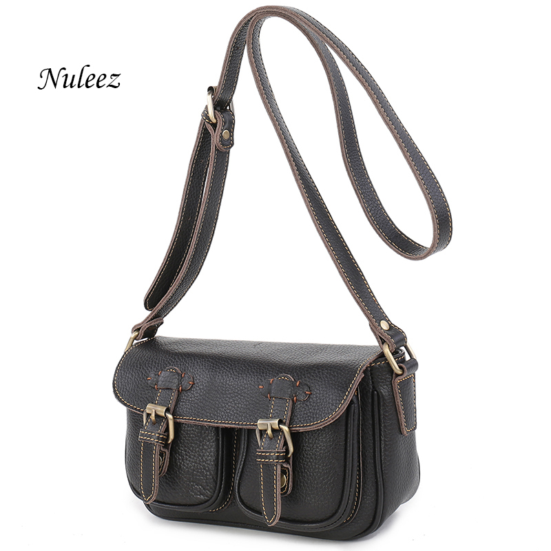 ФОТО Nuleez Genuine Leather Women Messenger Bag Real Leather Vintage Crossbody Bag Retro Cow Skin  Ladies Shoulder Organizer Bag 1216