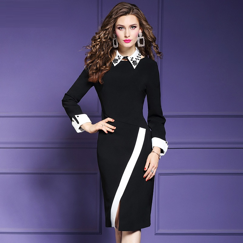 Pencil Office Lady Package hip dress Spring 2019 new Women Fork opening Party Dress winter Plus