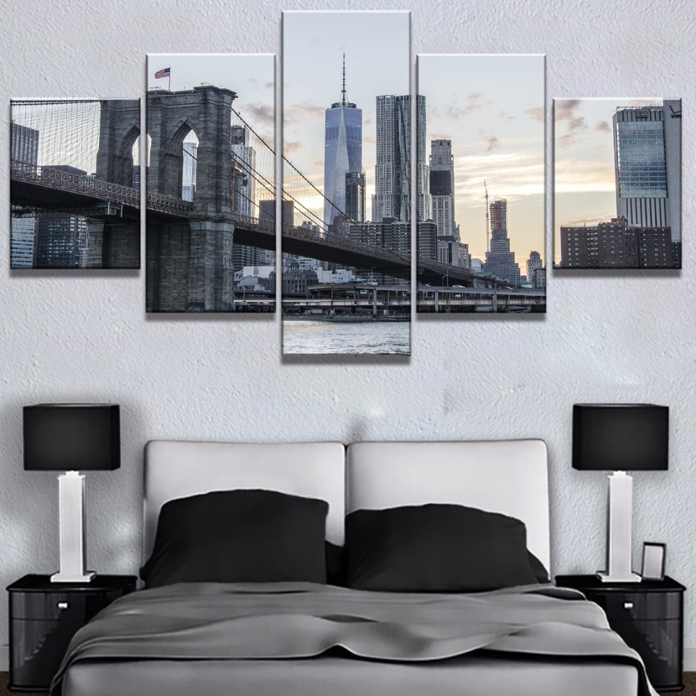 Modular 5 Panel HD Printed New York Skyscrapers Cuadros Decoracion Paintings on Canvas Wall Art for Home Decorations Wall Decor