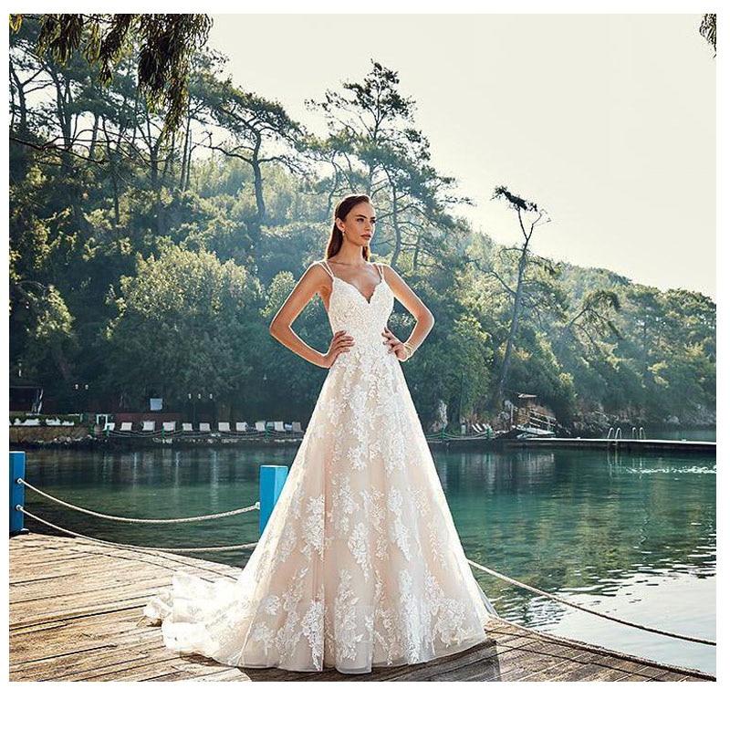LORIE New Lace Wedding Dress 2019 A Line Sexy Vestidos de novia Vintage Bride Dresses Floor