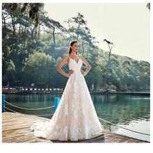 לורי חדש תחרה שמלות כלה 2019 קו סקסי Vestidos דה novia Vintage כלה שמלות באורך רצפת חתונה