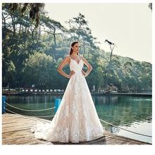 فستان زفاف جديد من LORIE من الدانتيل 2019 A Line مثير من Vestidos de novia فساتين عروس عتيقة طول الأرض فساتين زفاف