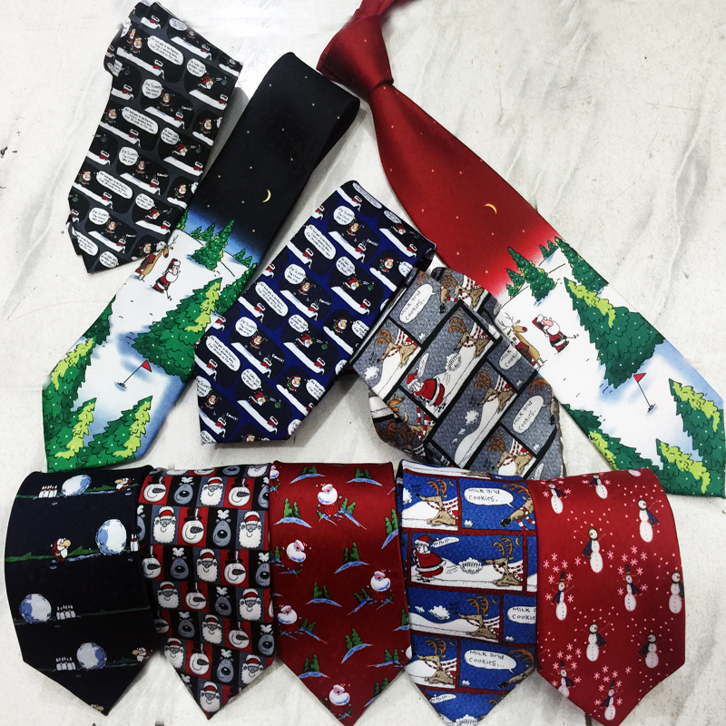 Christmas Ties for Men Designer Printed Snowman Penguin Reindeer Animal Novelty Blue Red Luxury Mens Gift Necktie for Christmas