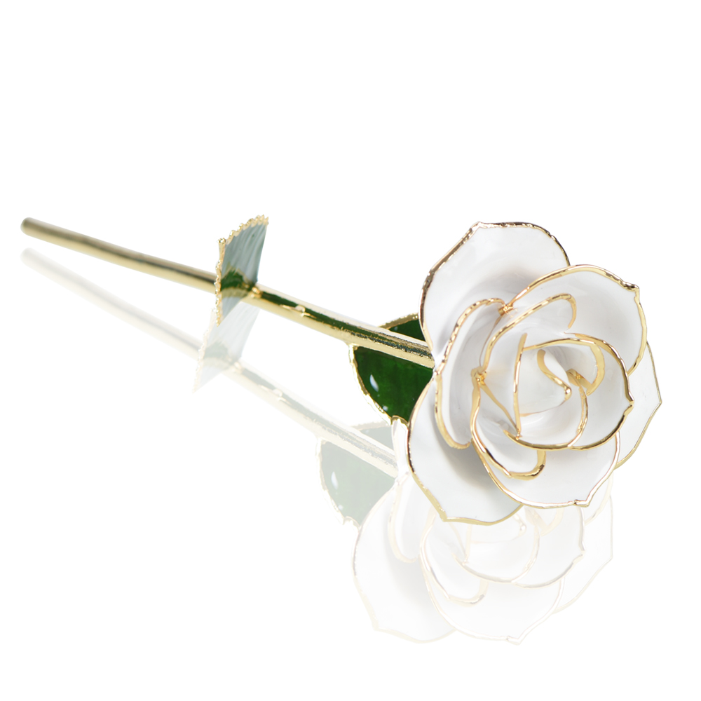 Real Nature Rose 24k Gold Dipped Rose Artificial Rose Flower with Gift Box Red Gold Rose for Lover