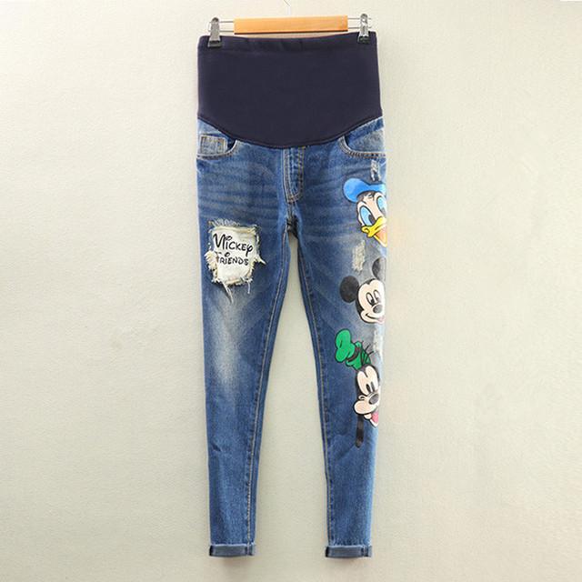 2016 Outono Nova Longa Animal Print Cão Rato Carta Azul Escuro Buraco Jeans Mulheres Grávidas Barriga