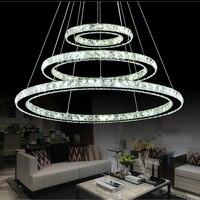 Popular Diamond Ring LED Crystal Pendant Light Modern LED Circles Hanging Lamp Foyer Dining Room Lighting