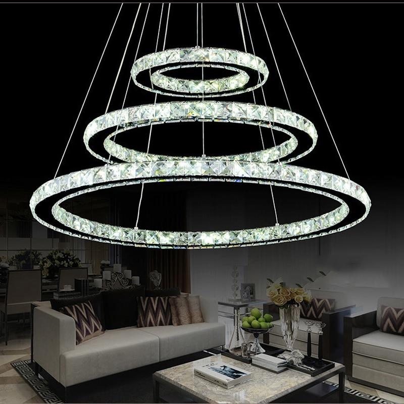 popular diamond ring led crystal pendant light modern led circles hanging lamp foyer dining room. Black Bedroom Furniture Sets. Home Design Ideas