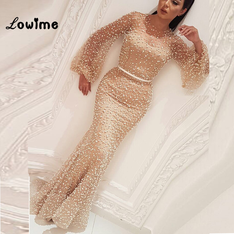 Robe De Soirée Arabe Champagne Formelle Robe de Soirée Moyen-Orient Kaftan 2018 Perle Abendkleider Sirène Parti Robes Abiye Robe