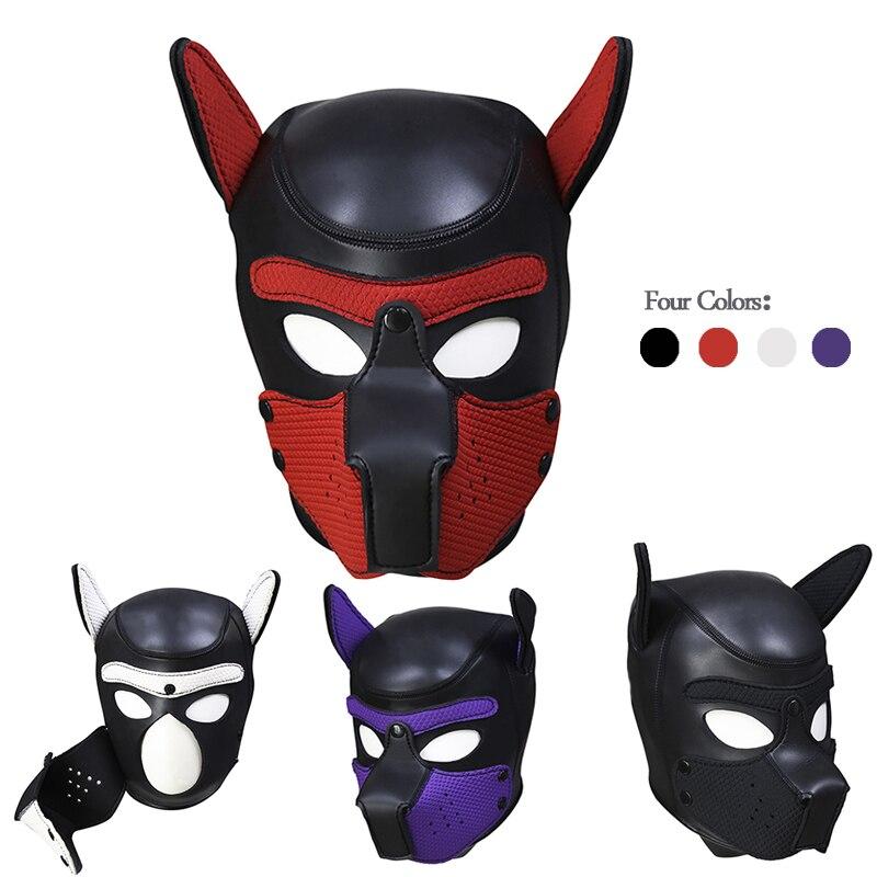 Juego de adultos perro arnés BDSM abierta máscara Hood fetiche completo adjunto cabeza Bondage esclavo restricciones juguetes sexuales para mujer parejas